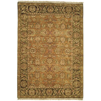 Belfield Gold/Light Green/Gold Area Rug Rug Size: Round 6