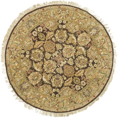 Belfield Dark Brown/Gold Area Rug Rug Size: Round 4'