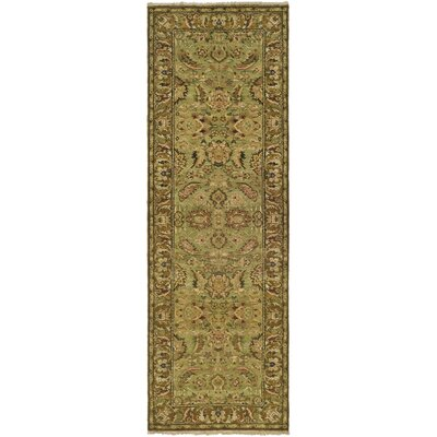 Belfield Light Green/Gold Area Rug Rug Size: Round 6