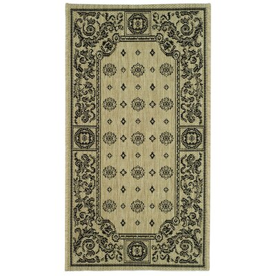 Carsen Sand/Black Outdoor Rug Rug Size: Rectangle 53 x 77