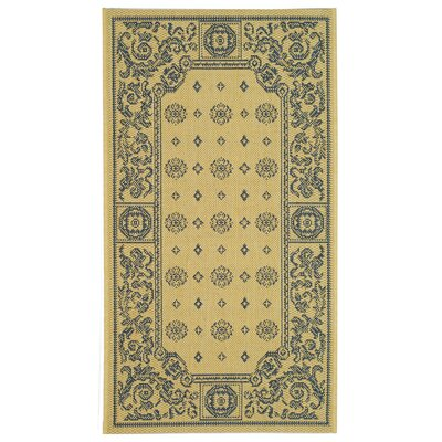 Carsen Natural/Blue Outdoor Rug Rug Size: 2 x 37