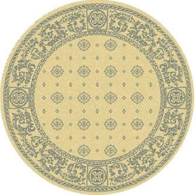 Carsen Natural/Blue Outdoor Rug Rug Size: Round 53