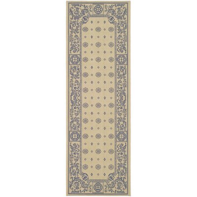 Carsen Natural/Blue Outdoor Rug Rug Size: Runner 24 x 67