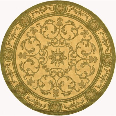 Carsen Natural/Olive Indoor/Outdoor Rug Rug Size: Round 53