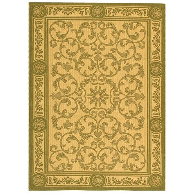 Carsen Natural/Olive Outdoor Rug Rug Size: 2 x 37