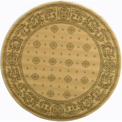 Carsen Natural/Olive Outdoor Rug Rug Size: Round 53