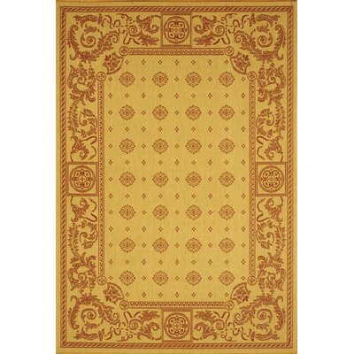 Carsen Beige/Red Outdoor Rug Rug Size: 53 x 77