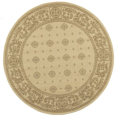 Carsen Natural/Brown Outdoor Rug Rug Size: Round 53