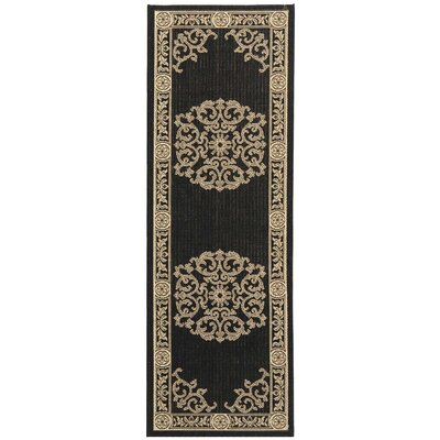 Carsen Black & Sand Outdoor Area Rug Rug Size: Runner 23 x 14