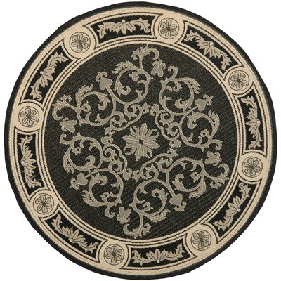 Carsen Black & Sand Outdoor Area Rug Rug Size: Rectangle 53 x 77