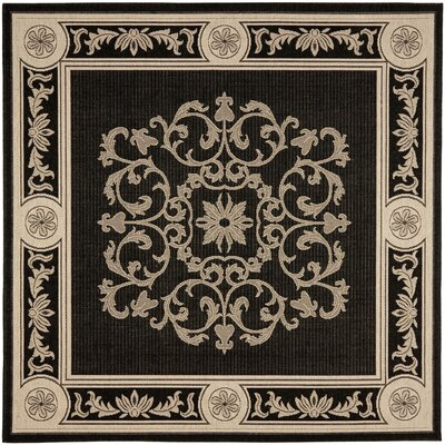 Carsen Black & Sand Outdoor Area Rug Rug Size: Square 67