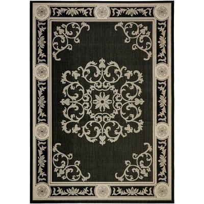 Carsen Black & Sand Outdoor Area Rug Rug Size: 53 x 77