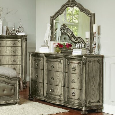 Liola 9 Drawer Double Dresser with Mirror