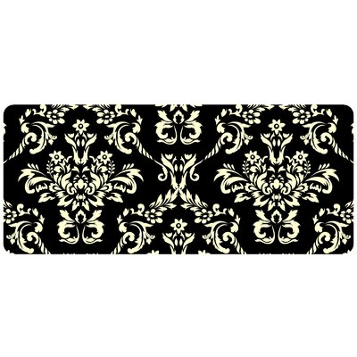 Justina Damask Kitchen Mat Color: Onyx, Rug Size: 22 x 52 Runner