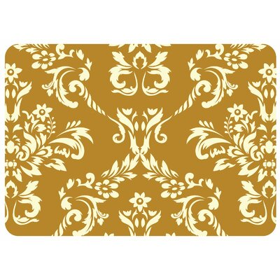 Justina Damask Kitchen Mat Rug Size: 22 x 31, Color: Harvest Gold