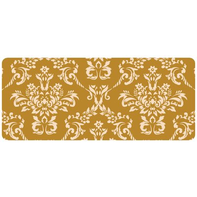 Justina Damask Kitchen Mat Color: Harvest Gold, Rug Size: 22 x 52 Runner