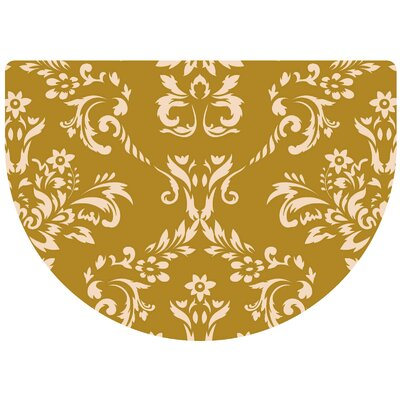 Justina Damask Kitchen Mat Rug Size: 22 x 31 Half Round, Color: Harvest Gold