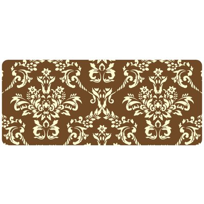 Justina Damask Kitchen Mat Color: Walnut, Rug Size: 22 x 52 Runner