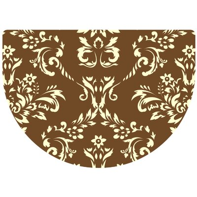 Justina Damask Kitchen Mat Rug Size: 22 x 31 Half Round, Color: Walnut