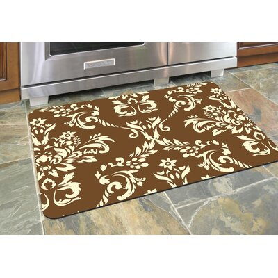 Justina Damask Kitchen Mat Rug Size: 22 x 31, Color: Walnut