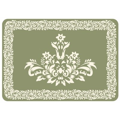 Justina Falcon Crest Border Kitchen Mat Color: Sage