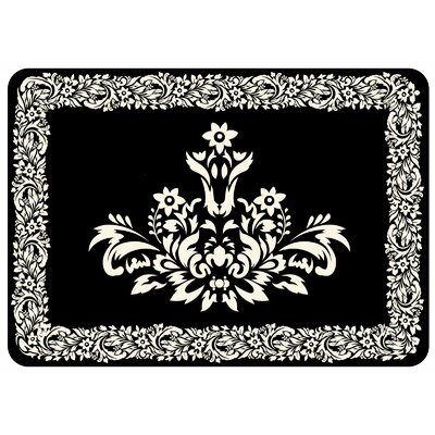Justina Falcon Crest Border Kitchen Mat Color: Onyx