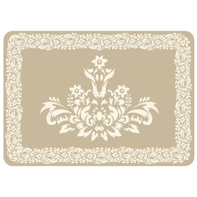 Justina Falcon Crest Border Kitchen Mat Color: Khaki