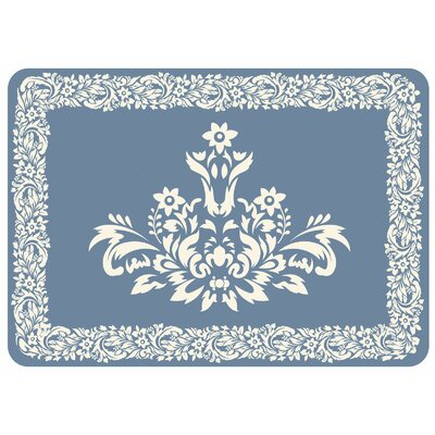 Justina Falcon Crest Border Kitchen Mat Color: Blue