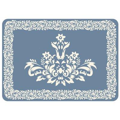Justina Falcon Crest Border Kitchen Mat Color: Blue