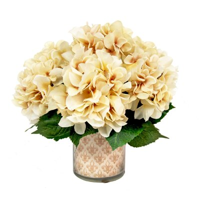 Hydrangea in Decoupage Fleur Di Lis Pot