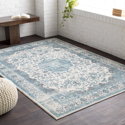 Barlett Medium Gray/Teal Area Rug Rug Size: Rectangle 2 x 23