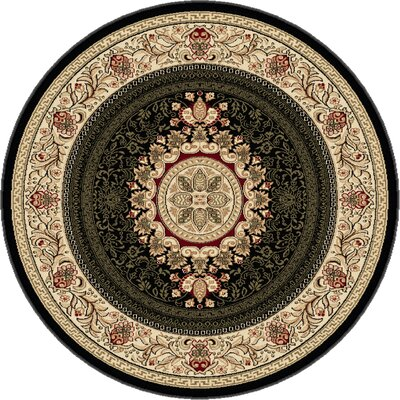 Clarence Black Area Rug Rug Size: Round 53