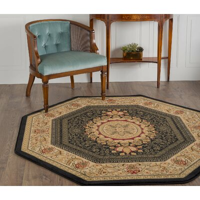 Clarence Black Area Rug Rug Size: Octagon 5'3