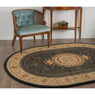 Clarence Black Area Rug Rug Size: Oval 67 x 96