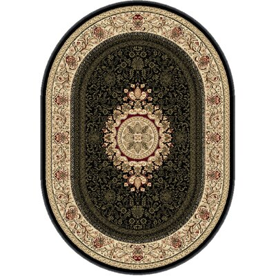 Clarence Black/Beige Area Rug Rug Size: Oval 7' x 10'