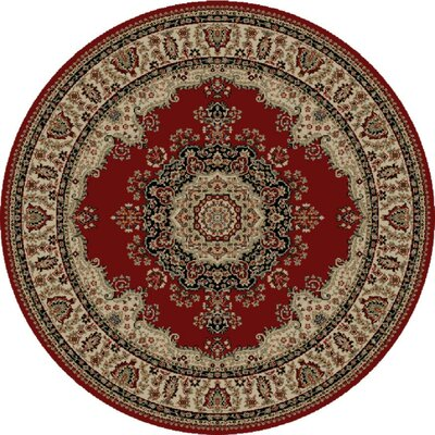 Clarence Red/Beige Area Rug Rug Size: Round 8
