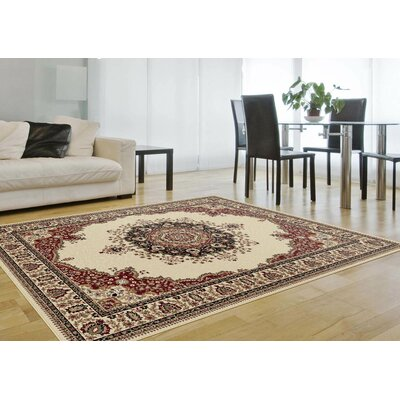 Clarence Ivory/Red Area Rug Rug Size: Rectangle 7 x 10
