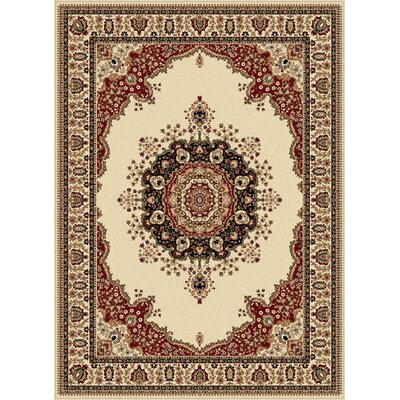 Clarence Ivory/Red Area Rug Rug Size: 710 x 103
