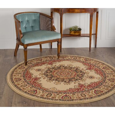 Clarence Ivory/Red Area Rug Rug Size: Round 53