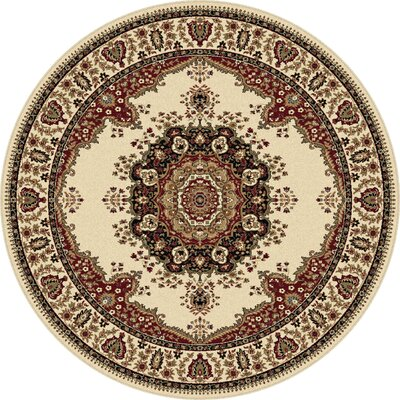 Clarence Ivory/Red Area Rug Rug Size: Round 6