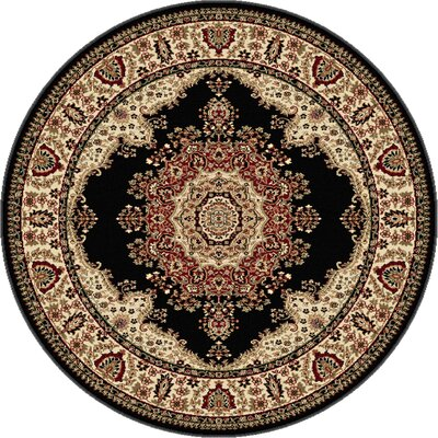 Clarence Beige/Black Area Rug Rug Size: Round 8