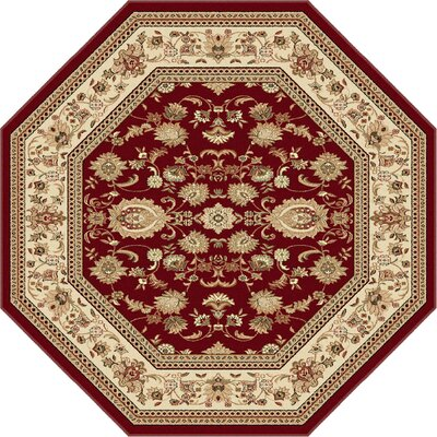 Clarence Beige/Red Area Rug Rug Size: Octagon 8