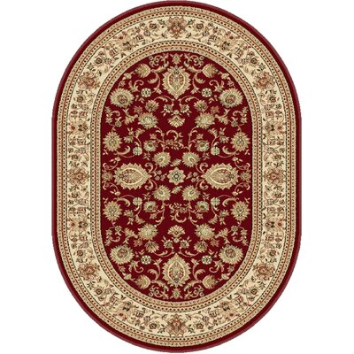 Clarence Red Area Rug Rug Size: Oval 67 x 96