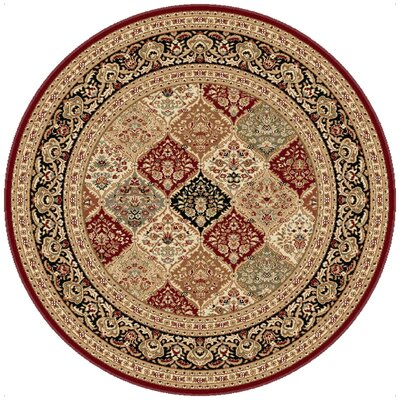 Clarence Red/Beige Area Rug Rug Size: Round 6