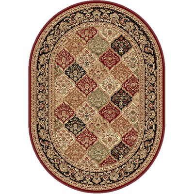 Clarence Red/Beige Area Rug Rug Size: Oval 7' x 10'