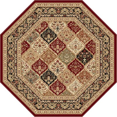 Clarence Red/Beige Area Rug Rug Size: Octagon 8
