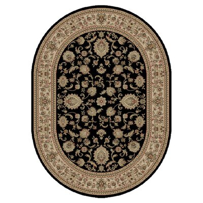 Clarence Black/Beige Area Rug Rug Size: Oval 7 x 10