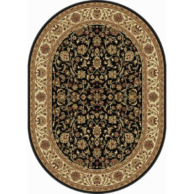 Clarence Black/Brown Area Rug Rug Size: Oval 7 x 10