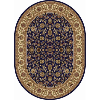 Clarence Navy/Blue Area Rug Rug Size: Oval 7 x 10