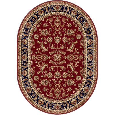 Clarence Red/Navy Blue Area Rug Rug Size: Oval 5 x 8